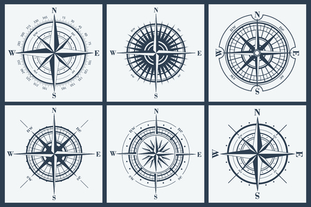 rosa dei venti: Set di isolati rose dei venti o rose dei venti. Illustrazione vettoriale.