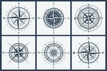Conjunto de rosas de los vientos aisladas o windroses. Ilustración del vector.