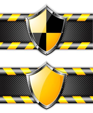 protect safety: Set of gold shields over steel dotted backgrounds. Vector EPS10.