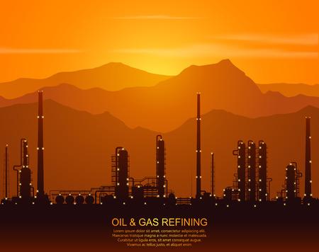 Olieraffinaderij of chemische fabriek silhouet met nachtverlichting in de bergen bij zonsondergang. Detail vector illustratie.