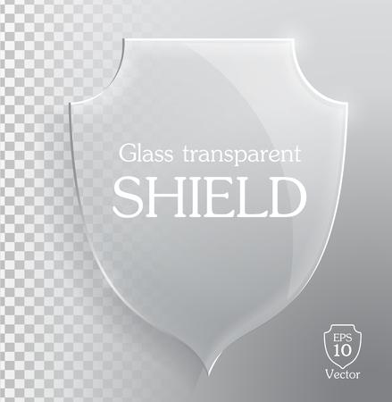 shiny shield: Transparent shiny glass shield. Vector illustration eps10. Illustration