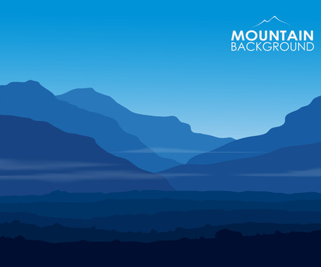 Landscape with huge blue mountains and copy-space. Vector eps10.