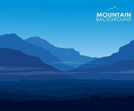 Landschap met enorme blauwe bergen en copy-ruimte. Vector eps10. Stock Illustratie