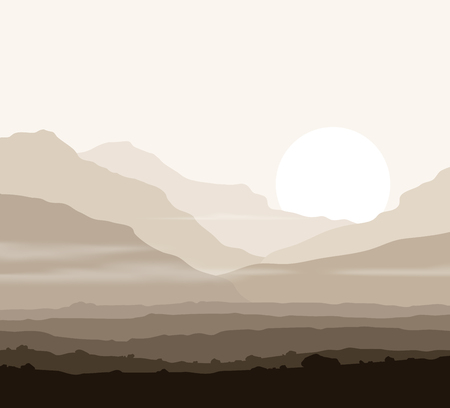 lifeless: Lifeless landscape with huge mountains over sun. Vector eps10. Illustration