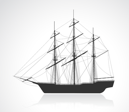 the detail: Black old sailing ship silhouette. Detail vector illustration. EPS10. Illustration