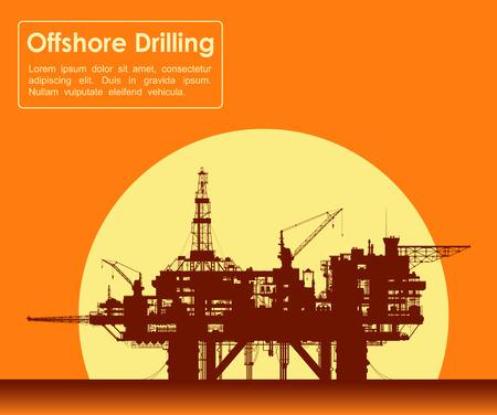 bomba de agua: Plataforma petrolera mar. Plataforma de perforación costa afuera en el mar sobre amarillo sol. Ilustración vectorial Detalle.