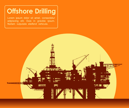 Sea oil rig. Offshore drilling platform in the sea over yellow sun. Detail vector illustration.