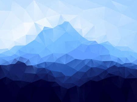 Triangle geometrical background with blue mountain range . Vector illustration.