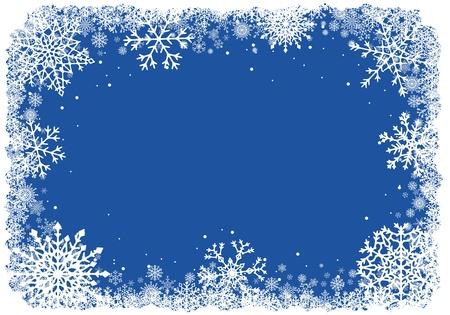 파란색 배경 위에 눈송이와 크리스마스 프레임. 벡터.