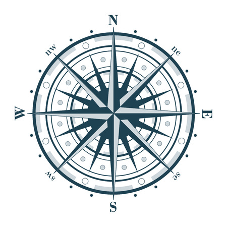 dial: Compass rose isolated on white.  Illustration