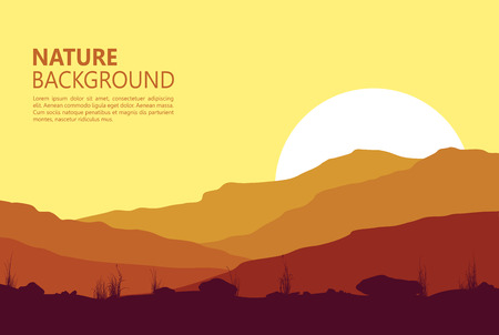 Sunset in the Mountains. Vector illustration.