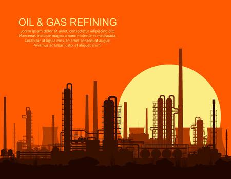 Olieraffinaderij of chemische fabriek bij oranje zonsondergang. Vector illustratie.
