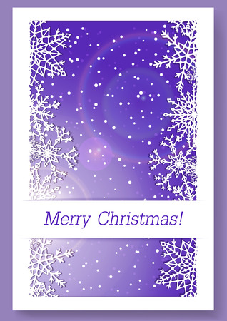 newyear card: Christmas purple background with snowflakes and copy-space.