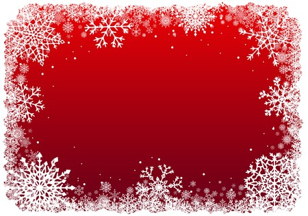 Christmas frame with snowflakes over red background. Vector.  イラスト・ベクター素材