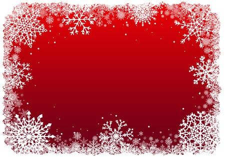 빨간색 배경 위에 눈송이와 크리스마스 프레임입니다. 벡터.
