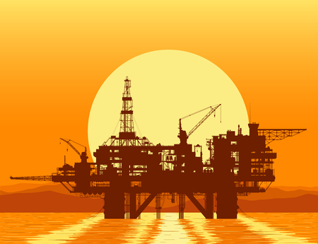 detail: Sea oil rig. Offshore drilling platform in the sea over mountain range. Detail vector illustration.