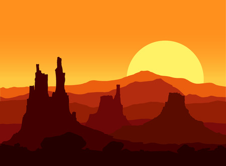 lifeless: Sunset in the Rocky Mountains. Vector illustration. Illustration