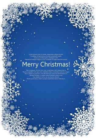 vetical: Vetical Christmas frame with snowflakes over blue background. Vector illustration.