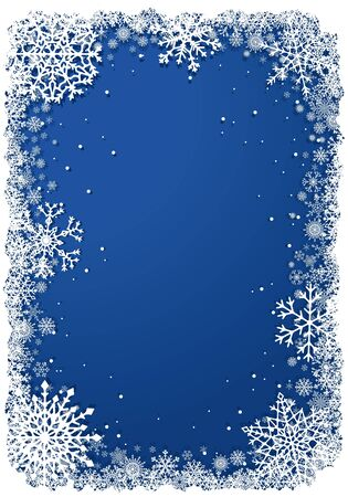 Vetical Christmas frame with snowflakes over blue background. Vector illustration.