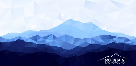 geometrical pattern: Triangle low poly polygonal background with blue mountain range .