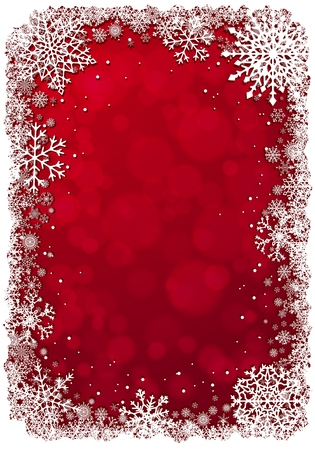 red christmas background: Red Christmas background with white frame of snowflakes.