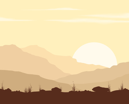 Landscape with sunset in mountains.  Illustration