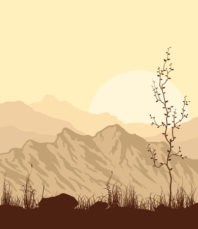 mountain sunset: Sunset in mountains. Yellow landscape with mountain range, grass and tree. Vector illustration.