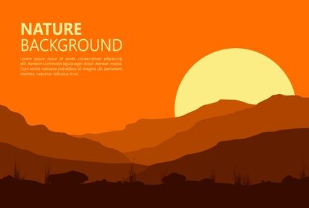 Sunset landscape vector: Cảnh hoàng hôn với trong núi. Vector minh họa.