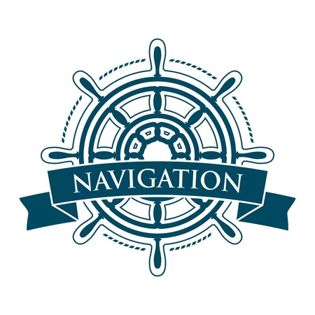 ship steering wheel: Ship steering wheel corporate emblem with banner isolated on white backgriund. Navigation symbol. Vector illustration.
