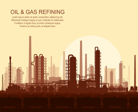 pipeline: Oil and gas refinery or chemical plant at sunset. Vector illustration.