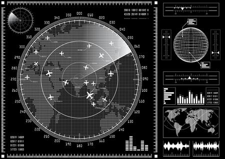 飛行機 HUD の未来的なユーザー インターフェイスとレーダー画面。 黒と白のインフォ グラフィックの要素。ベクトルの図。