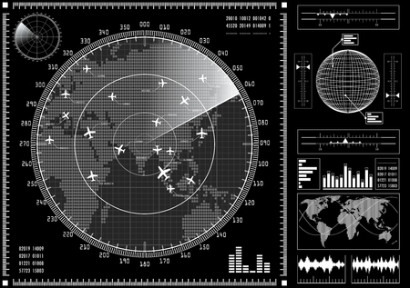 interface elements: Radar screen with planes and futuristic user interface HUD.  Black and white infographic elements. Vector illustration.