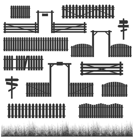 front or back yard: Set of black silhouettes of fences with gates and grass isolated on white background. Vector illustration. Illustration