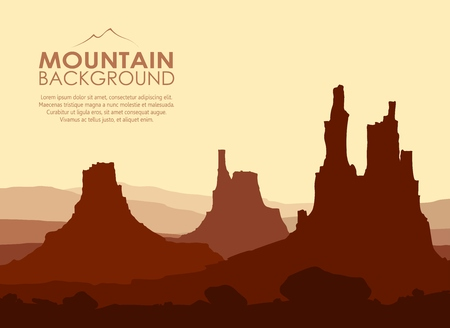 red sunset: Sunset in huge red Mountains. Vector illustration.