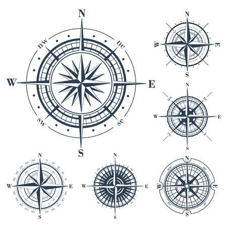 Set of isolated compass roses or windroses isolated on white. Vector illustration.