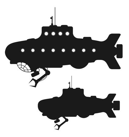 Set of black submarine or bathyscaphe silhouettes isolated on white background. Vector illustration. Illustration