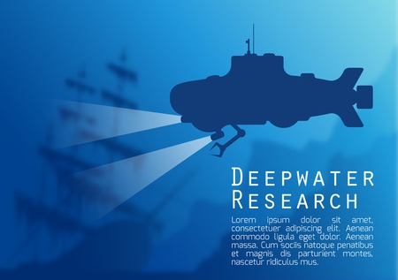 portholes: Blurred underwater background with blue submarine silhouette and old sunken ship. Vector illustration .