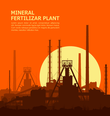 fertilize: Mineral fertilizers plant at sunset. Detail vector illustration of large of manufacturing plant over orange evening sky with huge shining sun.