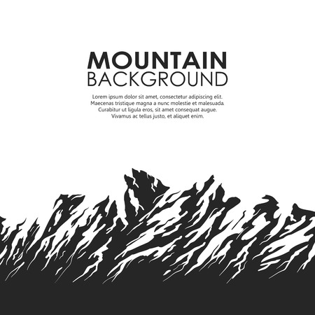 terrain: Mountain range isolated on white background. Black and white huge mountains. Vector illustration with copy-space.
