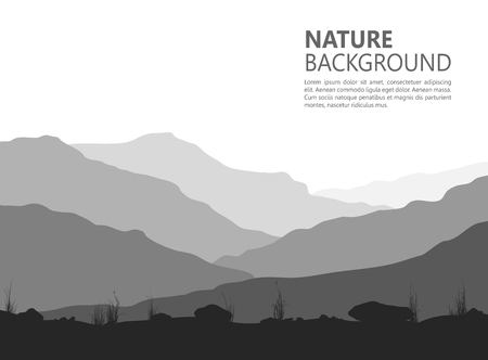 horizon: Landscape with huge mountains. Black and white vector illustration.