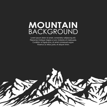 copyspace: White mountain range isolated on black background. Black and white huge mountains. Vector illustration with copy-space. Illustration