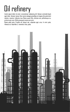 gas refinery: Oil and gas refinery or chemical plant isolated on white background. Vector illustration.