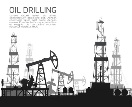 detail: Drilling rigs and oil pumps isolated on white background. Detail vector illustration.