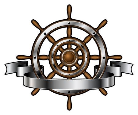 barche: Nave volante in legno e acciaio emblema aziendale con banner isolato su sfondo bianco. simbolo di navigazione. Illustrazione vettoriale.