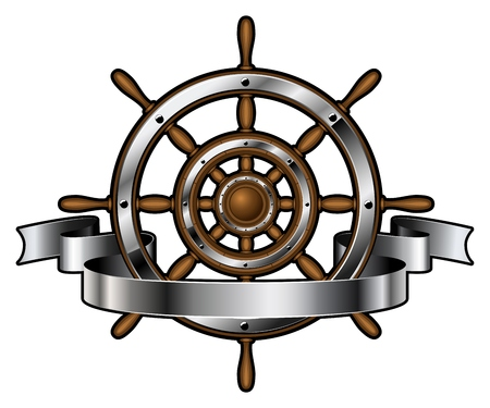 Ship wooden and steel steering wheel corporate emblem with banner isolated on white background. Navigation symbol. Vector illustration. Illustration