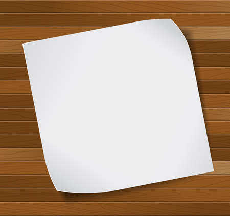 background design: White blank paper sheet over wooden background. Vector background.
