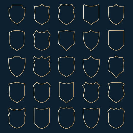 rounded: Large set of golden contour shields with rounded corners on blue background. illustration. Illustration