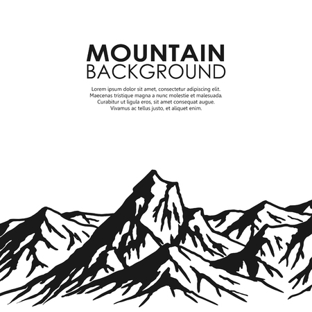 Mountain range isolated on white background. Black and white huge mountains. illustration with copy-space.