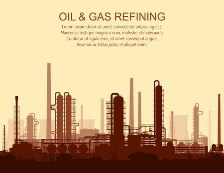 Oil and gas refinery or chemical plant at sunset. illustration.