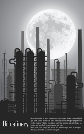 gas refinery: Oil and gas refinery or chemical plant at night. illustration.